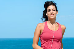 Woman portrait running on summer Royalty Free Stock Photography