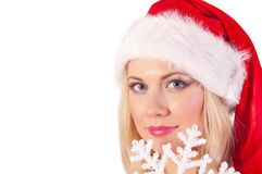 Woman portrait with santa hat Royalty Free Stock Image