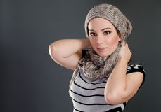 Woman portrait with scarf Royalty Free Stock Photos