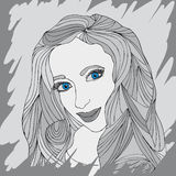 Woman portrait. Portrait of a woman in shades of gray. Expressive eyes Royalty Free Stock Photo