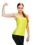 Woman portrait. showing biceps Royalty Free Stock Images