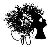 Woman portrait silhouette with curly hair. Vector image of graphic woman portraite with curly hair and heart on her face Royalty Free Stock Photos