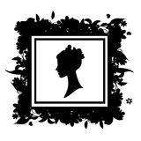 Woman portrait silhouette, floral frame Stock Photo