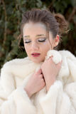Woman Portrait, Snow Queen. Winter portrait of a young pretty woman Stock Photos