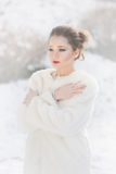 Woman Portrait, Snow Queen. Winter portrait of a young pretty woman, snow fairy makeup Royalty Free Stock Photo