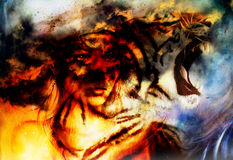 Woman portrait with spiritual fire tiger on space, color painting collage Stock Photography