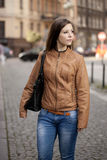 Woman portrait street. Woman going to shopping Royalty Free Stock Images
