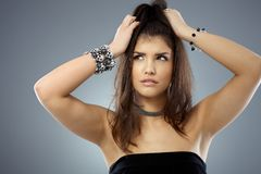 Woman portrait with suffering expression on face Royalty Free Stock Photos