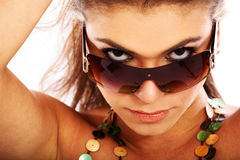 Woman portrait - sunglasses Royalty Free Stock Images