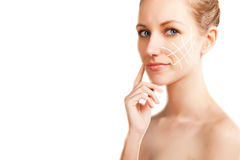 Woman portrait with surgery lines,  white gradient background Royalty Free Stock Images