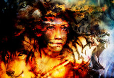 Woman portrait with  tigerand wolf, color painting collage Royalty Free Stock Photos