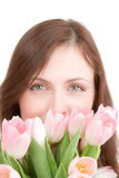 Woman portrait with tulips Royalty Free Stock Photo