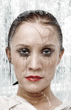 Woman portrait under shower Stock Photos
