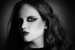 Woman portrait in vamp gothic black style. Woman portrait face with vamp gothic makeup in black and white Stock Image