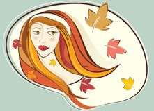 Woman portrait vector. Women portrait with leaf vector stock illustration