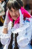 Woman portrait Virgen del Carmen parade peruvian Royalty Free Stock Photo