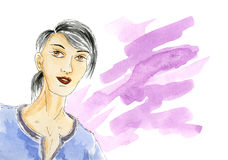 Woman portrait with watercolor splash Royalty Free Stock Images