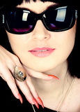 Woman portrait wearing sunglasses Stock Photos
