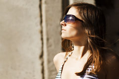 Woman portrait wearing sunglasses Stock Images