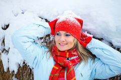 Woman portrait in winter Stock Images