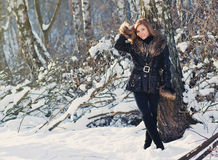 Woman portrait in winter clothes Stock Photography