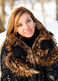 Woman portrait in winter clothes Stock Images