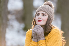Woman Portrait. Winter portrait of a young pretty woman Stock Images
