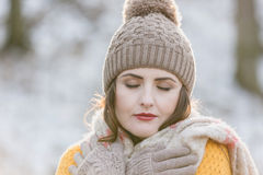 Woman Portrait. Winter portrait of a young pretty woman Stock Photo