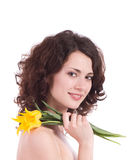 Woman portrait with yellow flowers Stock Photo