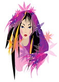 Woman portraite in black and pink coloures. Vector image of graphic woman portraite with colourful purple, pink and black hairdress Stock Photo