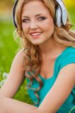 Woman portraits with headphones Royalty Free Stock Images