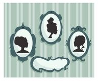Woman portraits silhouette. With place for your text,  illustration Royalty Free Stock Photo