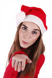 Woman portraying father christmas Royalty Free Stock Photos