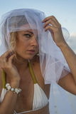 Woman portreit in bridal veil Stock Photography
