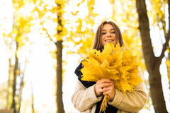 Woman portret in autumn Stock Image