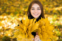 Woman portret in autumn Stock Photos