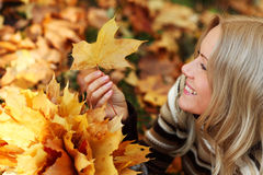 Woman portret in autumn leaf Stock Image