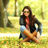 Woman portret in autumn leaf Stock Photo