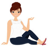 Woman pose. Red haired young woman seated pose Royalty Free Stock Photos