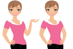 Woman pose set. Brunette woman avatar pose set royalty free illustration