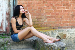 Woman poses outdoor Royalty Free Stock Images