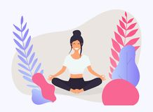 Woman in poses of yoga. Healthy lifestyle. stock image