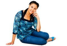 Woman posing. And smiling isolated over white Stock Photos