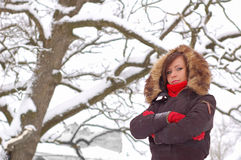 Woman posing. At winter outdoors stock photo