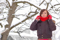 Woman posing. At winter outdoors Stock Photos