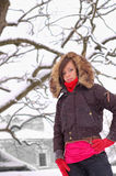 Woman posing. At winter outdoors Royalty Free Stock Images