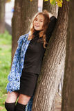 Woman posing in autumn park Royalty Free Stock Images