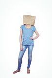 Woman posing with bag on head Royalty Free Stock Photography