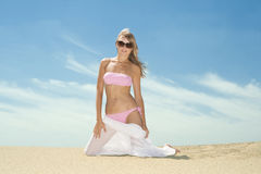Woman posing on the beach Stock Image