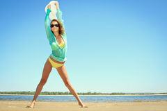 Woman posing at the beach on summer day Royalty Free Stock Photography